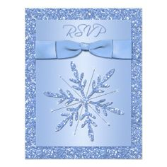Shop Glittery Blue Snowflake Save the Date Postcard created by NiteOwlStudio. Snowflake Wedding, Snowflake Cards, Snowflake Designs, Snowflakes, Wedding Postcard, Blue Wedding Invitations, Save The Date Postcards, Christmas Cards