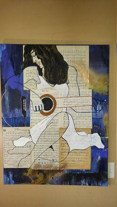 Contemporary art music guitar art art on sheet music