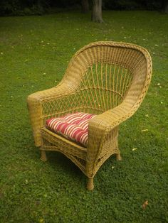 Large Bar Harbor Wicker Arm Chair Circa 1820's