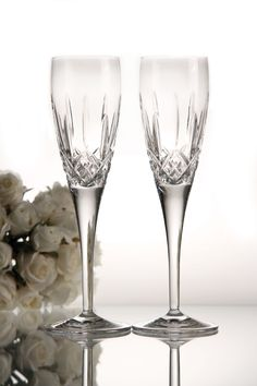 Waterford Lismore Nouveau Flute, Pair Waterford Lismore, Waterford Crystal, Wedding Champagne Flutes, Champagne Glasses, Toasting Flutes, Crystal Vase, Bubbles, Crystals, Cups