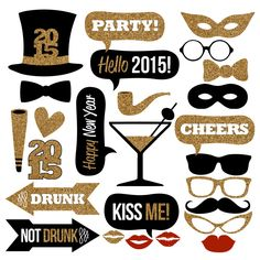 New Year's Eve Photo Booth Props Collection – Printable Instant Download – Black & Gold Glitter Photo Booth Props for a New Year's Eve Party by Studio120Underground on Etsy https://www.etsy.com/listing/216342021/new-years-eve-photo-booth-props