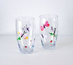 2  Hand Painted Crystal Glasses Bugs and Butterflies