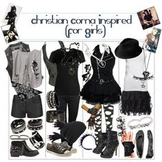 """Christian Coma Inspired (For Girls Band Outfits, Scene Outfits, Emo Outfits, Grunge Outfits, Casual Outfits, Fashion Outfits, Womens Fashion, Dark Fashion, Gothic Fashion"