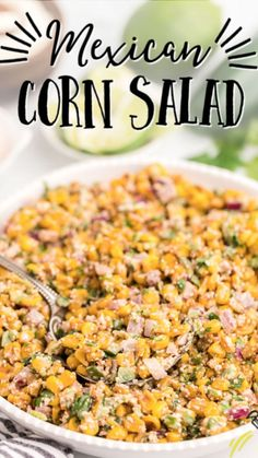 Corn Salad Recipes, Corn Salads, Recipes With Corn, Corn Salad Recipe Easy, Mexican Side Dishes, Vegetable Side Dishes, Corn Side Dishes, Vegetarian Recipes, Cooking Recipes