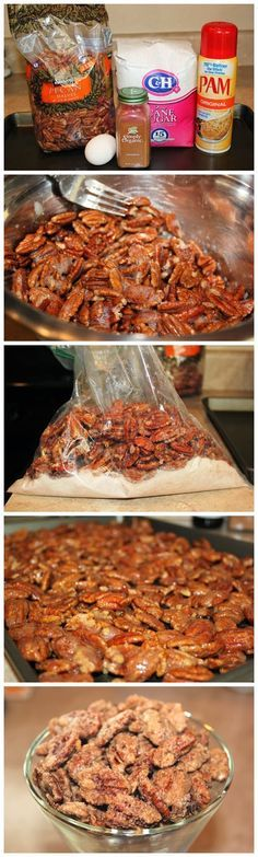 I used to make these when I lived in Tx, they are so good, also used a bit of butter, cayenne and brown sugar. Cinnamon Sugar Pecans Recipe