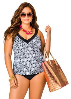 Black and White Cross Back Tankini Top