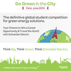 Go Green in the City 2014   Schneider Electric invites you to its fourth annual Go Green in the City global business case challenge. This year's Go Green in the City is bigger than ever before: students from over 80 countries worldwide have already pre-registered for the challenge! We are anticipating an eventful season of innovative and creative ideas. http://www.srmuniv.ac.in/node/9583 http://www.gogreeninthecity.com/