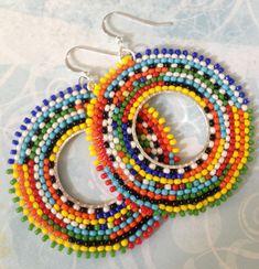 Beadwork Hoop Earrings Tribal Inspired Big Bold Bright Multicolored Seed Bead Earrings by WorkofHeart