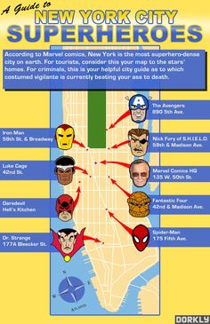 Superhero Star Map: New York City Is The Place