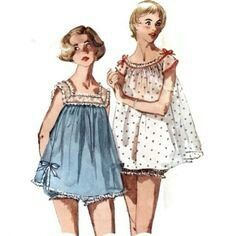 Baby doll pajamas.  I sure would love some now Love the ruffled bloomers.