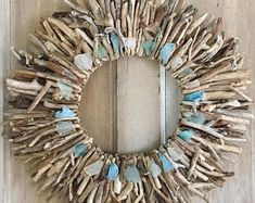 """22"""" Driftwood Wreath with Sea Glass Accents - Maine Driftwood Decor, Driftwood Wall Hanging, Driftwood Wall Art"""