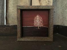 Nature Art - Rustic Home Decor - Primitive Art - Landscape Painting - Folk Art - Tree Wall Art - Gifts For Nature Lovers - Framed Art