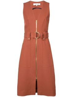 Burnt Sienna stretch cotton zip front belted dress from Diane Von Furstenberg featuring a front zip fastening, a sleeveless design and a belted waist. Day Dresses, Casual Dresses, Fashion Dresses, Chambray Dress, Belted Dress, Cocktail Outfit, Elegant Outfit, Look Fashion, Diane Von Furstenberg