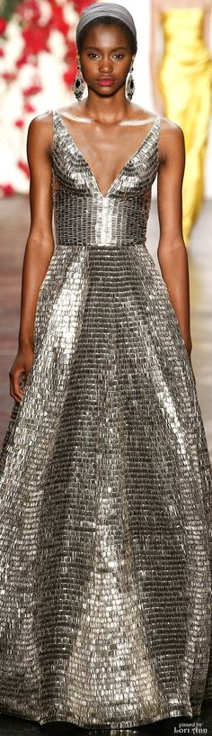 Naeem Khan Spring 2016 [I love the concept & the fabric, though not so enamored of this particular neckline.]