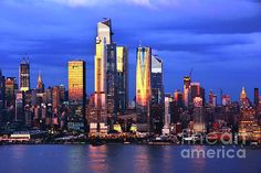 NYC Goldglow at Twilight by Regina Geoghan Manhattan Skyline, New York Skyline, Blue Artwork, Hudson Yards, One World Trade Center, Exposure Photography, Long Exposure, First World, Wall Art Decor