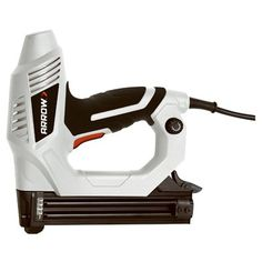 The Arrow Fastener Professional Electric Nailer || This heavy-duty brad nail gun offers a depth control adjustment knob and a non-marring contact bumper that protects the workpiece for projects such as crown moldings, cabinet draws, door moldings, railings and more. The ET200BN shoots 5/8-inch, 3/4-inch, 1-inch and 1-1/4-inch brad nails. www.arrowfastener.com