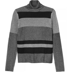 Monki Mava knitted top (€9,73) ❤ liked on Polyvore featuring tops, sweaters, shirts, jumpers, ribbed sweater, thick striped shirt, grey sweaters, grey shirt and polo shirts