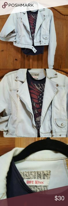Motorcycle Jean Jacket Motorcycle Jean Jacket in a light blue jean color a great Spring Jacket that can be worn over everything and shorts . So cute ... Hot Kiss Jackets & Coats Jean Jackets