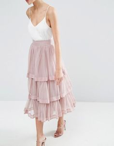 ASOS | ASOS Tulle Prom Skirt with Multi Layer and Trim