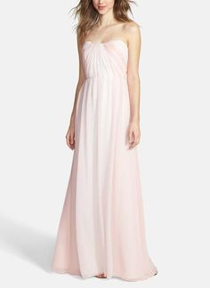 Two-tone panels create an ombré effect in this long bridesmaid dress (comes in blush, black/white, and shades of blue)
