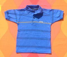 d7fc09793 vintage 80s kid LE TIGRE polo golf shirt stripe children 4 4T blue Small