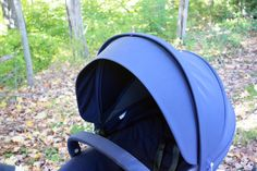 Stokke Deep Blue Fabric up close on Stokke Trailz stroller