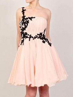 A-line One Shoulder Chiffon Short/Mini Appliques Cocktail Dresses