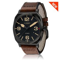 Swiss Made Christopher Ward C11 MSL Vintage Edition Aviator automatic watch with leather strap