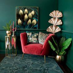 Art Deco Living Room, Teal Living Rooms, Colourful Living Room, Living Room Green, Living Room Designs, Living Room Artwork, Jungle Living Room Decor, 1930s Living Room, Jungle Room