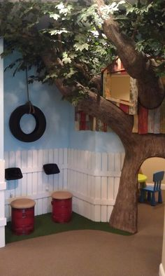 Tree house in a pediatric dental office waiting area.
