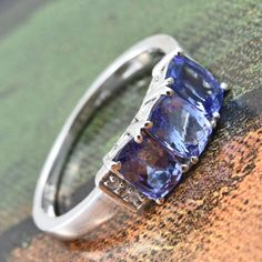 Tanzanite and Cambodian Zircon Platinum Over Sterling Silver Ring Tanzanite Jewelry, Fashion Jewelry, Women Jewelry, Jewelry Stores, Sterling Silver Rings, Rings For Men, Diamond, Earrings, Stuff To Buy