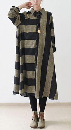 Black strip linen dresses long sleeve linen maxi dress oversize traveling dresses