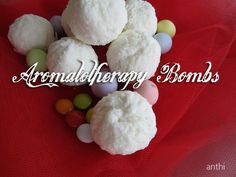 Aromatotherapy bombs for the bath.  Dropped into the tub, they fizz and release their nutritive and aromatic ingredients. They make bath time an even more special occasion to relax and cleanse. Children find bath bombs fascinating and fun to plunk into the tub. Adults love the aroma and visual appeal, and they make beautiful gifts.