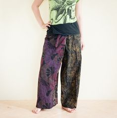 Patchwork Fisherman Pants Wraparound Waist Low by AmazingThaiStore, $25.00
