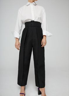 Pantalon large à pinces Mango, un look féminin masculin
