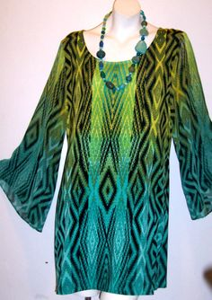 Style&Co Top L Abstract Aztec Boho Stretch Knit Tunic Sheer Bell Sleeve Blouse L