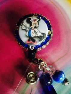 Blue Minnie Mouse Nurse Retractable Badge Reel  by ForTheLovetlc, $12.00