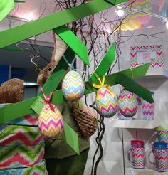 New Flamestitch pattern Easter Eggs from Burton & Burton - coming soon to Trendy Tree!  http://www.trendytree.com/burton-and-burton/burton-and-burton-chevron-easter-egg-set-of-4.html