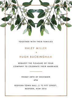 Garden Estate - Invitations. The Garden Estate collection by Australian designer Haley Johnston draws influence from garden elements and simple fonts and would complement those planning a modern garden ceremony. The Invitations card from the sophisticated Garden Estate collection looks amazing when printed using Real Foil and we think when it comes to stocks, it looks best on Paperlust Copper Foil.