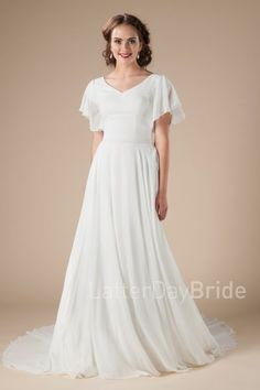 modest wedding gowns in Salt Lake City, the Brienne with flutter sleeves and chiffon
