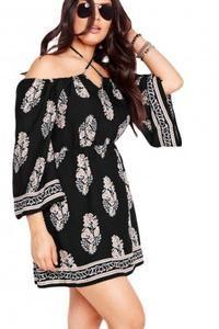 Plus Size Club Printed Halter Flare Sleeve Dress