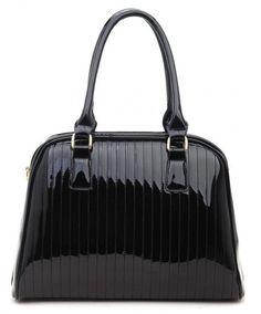 BLACK - Classic Cora Plain Patent Tote Handbag With Straight Lining Detail - The Handbag Hut