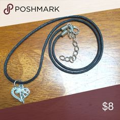 """Heart Choker Necklace 13-15"""" If you want to have an actual """"choker"""" then the 13-15"""" cord will be perfect!   ▪️ If you want 16-18"""" cord to layer with a shorter choker, or if you just want a choker that's a little bit longer. Pls let me know.  Love to bundle fast shipping Happy to answer questions Jewelry Necklaces"""