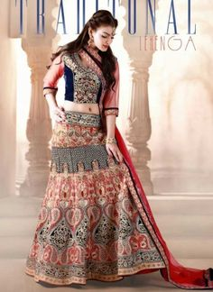 Red Bangalore Silk And Blue Velvet Heavy Embroidery Work Bridal Lehenga Choli
