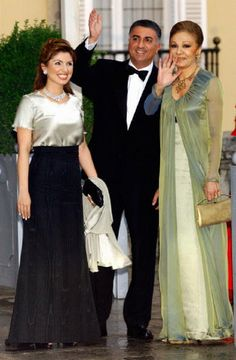 (R-L) Farah Pahlavi, wife of the late Shah of Iran with her son Prince Reza Pahlavi and his wife Princess Yasmine