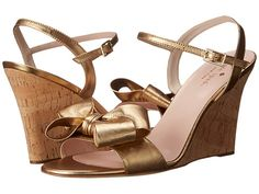 Kate Spade New York Iballa Old Gold Metallic Nappa/Gold Fleck Cork Covered Heel - 6pm.com