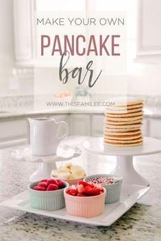 Pancake Bar for National Pancake Day Pancake Bar ideas for baby shower, brunch or party. Pancakes an Pancakes And Pajamas, Mini Pancakes, Birthday Brunch, Brunch Party, Birthday Ideas, Birthday Parties, 13th Birthday, Girl Birthday, Pancake Bar