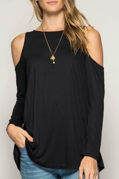"Long Sleeve Basic Cold Shoulder Top.  Available in Black Olive and Rose.  Model is 5'11"" and wearing size Small. Cold-Shoulder Basic Tunic by She  Sky (Ya Los Angeles). Clothing - Tops - Off The Shoulder North Carolina"