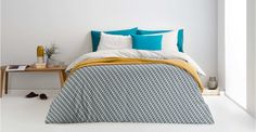 Prism 100% Cotton Printed Double Bed Set, Ocean Teal/ Grey | made.com