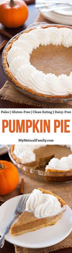 The crust for this Paleo pumpkin pie is super-easy to make and involves only a few ingredients. The pumpkin custard is firm and full of autumn spice! The topping is made of a slightly honey sweetened coconut cream that goes so nicely with the almond crust Dairy Free Pumpkin Pie, Paleo Pumpkin Pie, Pumpkin Custard, Pumpkin Pie Recipes, Pumkin Pie, Canned Pumpkin, Pumpkin Cheesecake, Paleo Sweets, Paleo Dessert
